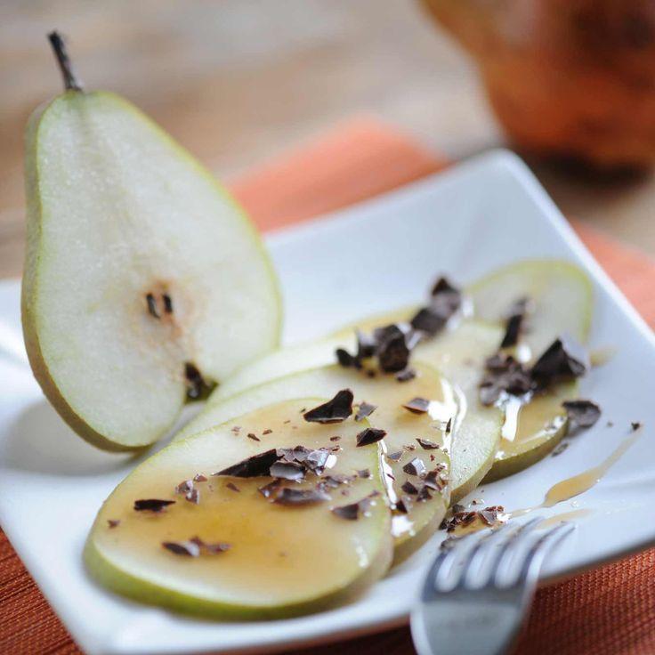 Découvrez la recette du carpaccio de poire au chocolat
