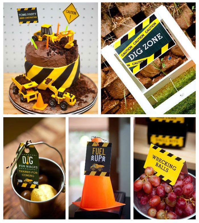 "Construction Birthday Party Food Ideas: ""Come Dig With Me"" Construction Themed Birthday Party Via"