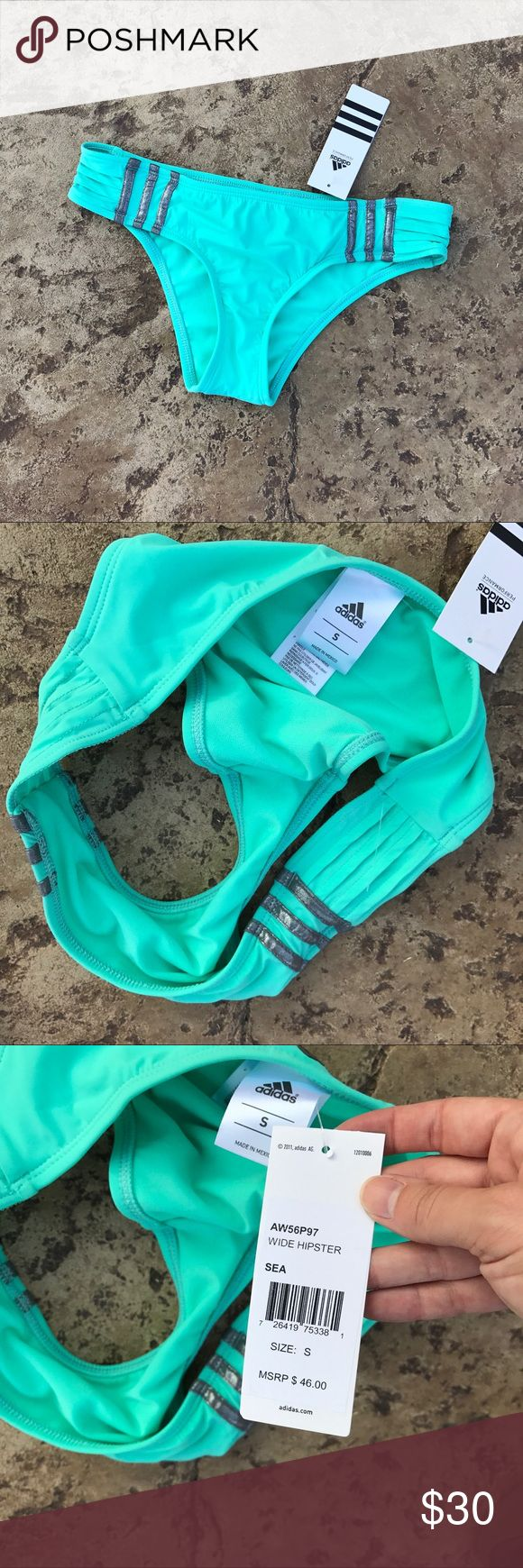 Adidas Sea Green Metallic 3 Stripe Hipster Bottoms The swimsuit of dreams is what you'll be calling this when you add it to your summer collection. Made out fashionable and functional materials that bend and move with you, you'll be ultra-stylish and sleek whenever you throw the Adidas Pleat of Dreams Wide Hipster on for the water. adidas Swim Bikinis