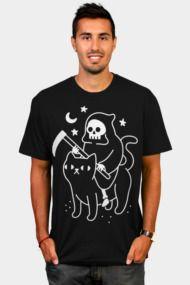 Death Rides A Black Cat Mens T Shirts