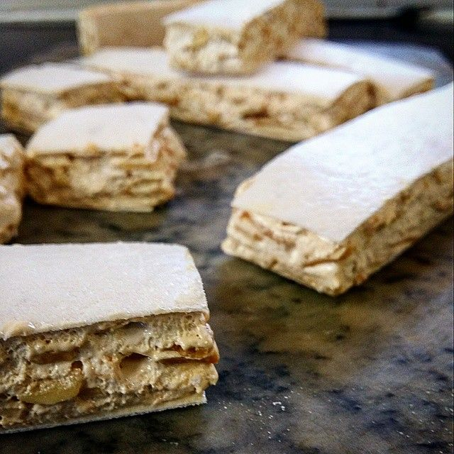 Homemade Sweets - French Nougat Friandise made with Honey and Almonds