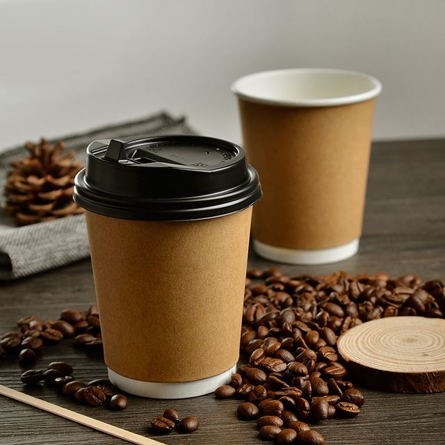 8oz Eco Friendly Thick Kraft Paper Coffee Cup Cafe Hotel Disposable Water