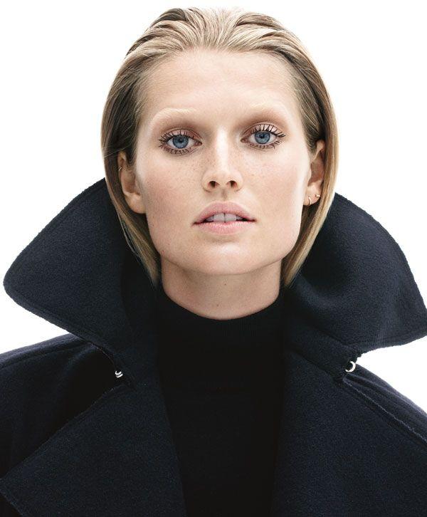 Toni Garrn in a Lanvin coat.