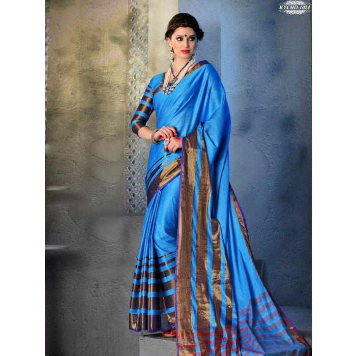 Chennai Express Cotton  Light Blue Designer Sarees