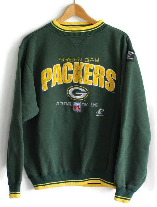 VTG Mens Green Bay Packers Sweatshirt Large Authentic NFL Pro Line Distressed  #LogoAthletic #GreenBayPackers