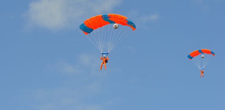 Skydive students flying with their parachute