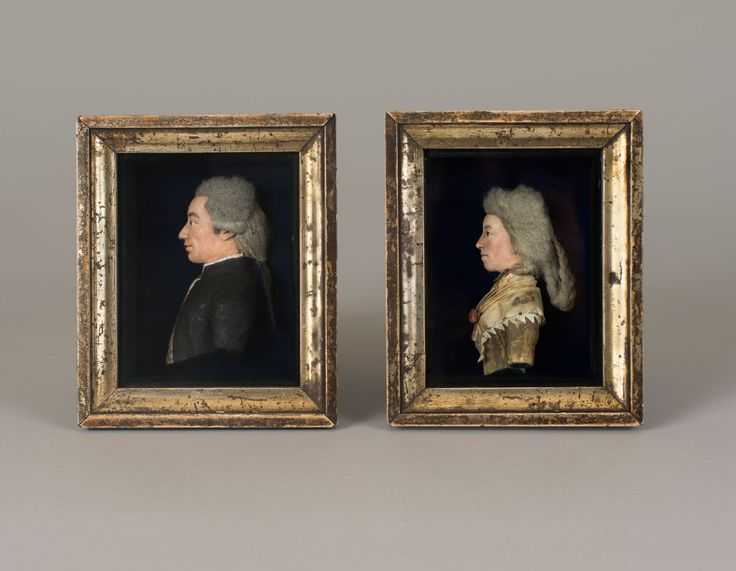 A pair of wax and hair portraits.  British, circa 1780. Both images, 15.8 x 13.2 cm (6¼ x 5¼ in). www.historicmedals.com
