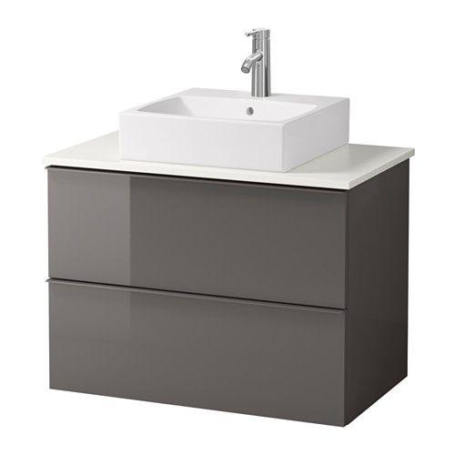 "GODMORGON/ALDERN / TÖRNVIKEN Vanity, countertop and 17 3/4"" sink - high gloss gray, white - IKEA $379"