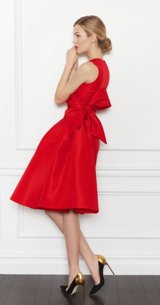 Carolina Herrera, red bow dress