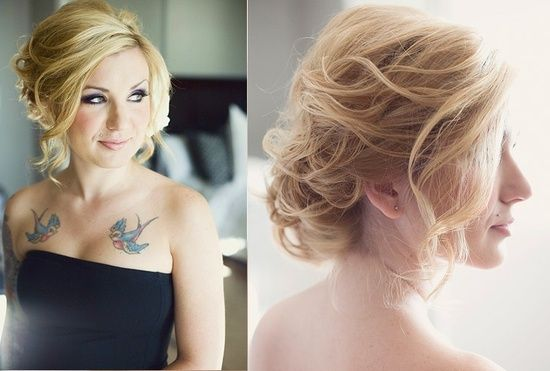 loose updo - I like the front view not the back...hate having no volume in the front - good inspiration for Ball updo