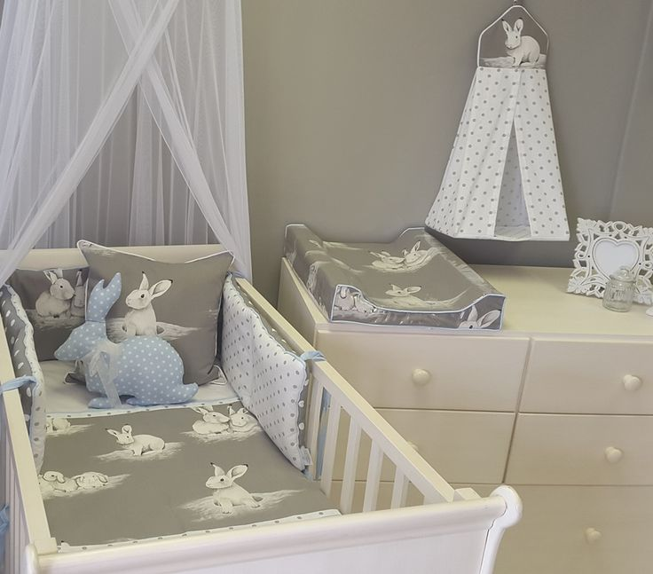 Our Bashful #Bunny fabric is perfect to match with #Blue for any #BabyBoy!  #BabyBedding #BabyLinen