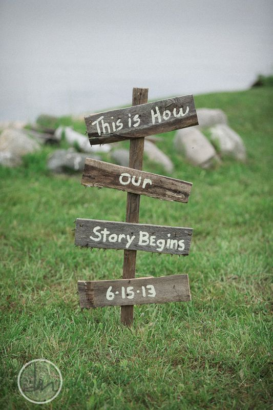"""""""Our story begins"""" for the sign?"""