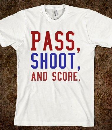 Pass, Shoot, and Score tee