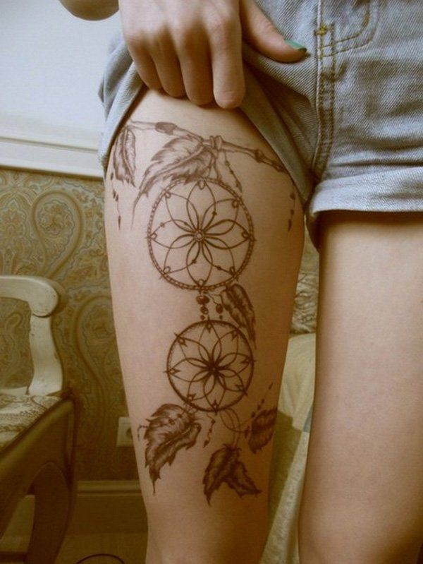 Dreamcatcher tattoo on leg - People may get overwhelmed with tattoo when starting to get a leg tattoo. Usually, it's not the first tattoo for one to get a tattoo on the leg as it is normally not as visible for everybody as arm. Leg tattoos are loved by girls and women as they look cool and sexy if they are carefully designed.