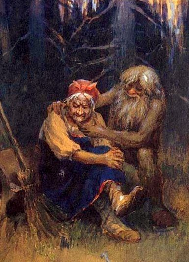 Leshy and Baba Jaga have always been great friends. And Leshy, as a forest spirit, comforts Baba Jaga when she gets upset that people forget that she's a great shaman too. He reminds her that the new young ones will remember.