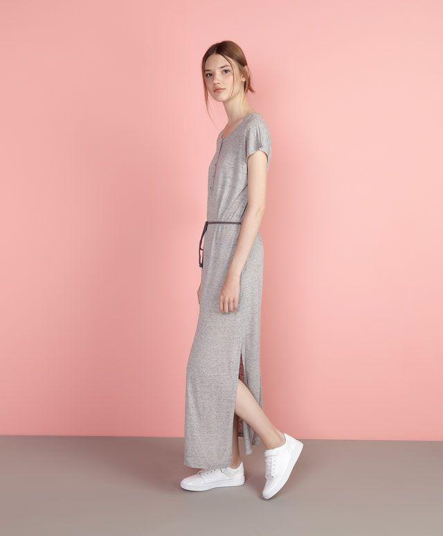 Vestido largo manga corta - OYSHO