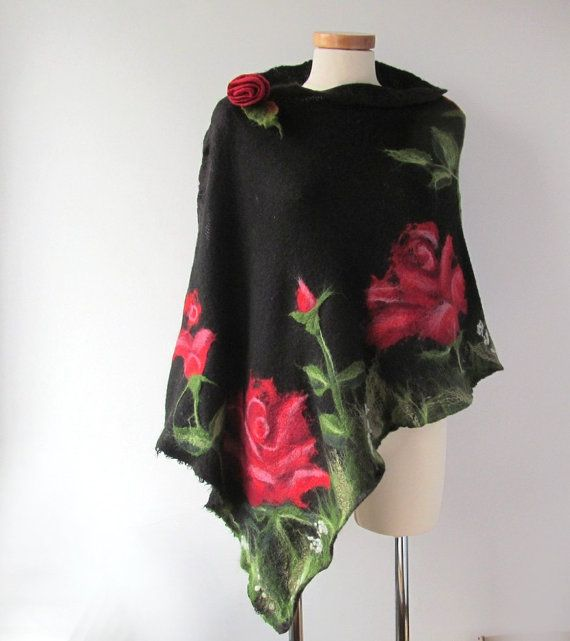 Black knit scarf jersey felted aplication Rose flower #flower #rose #scarf #felt