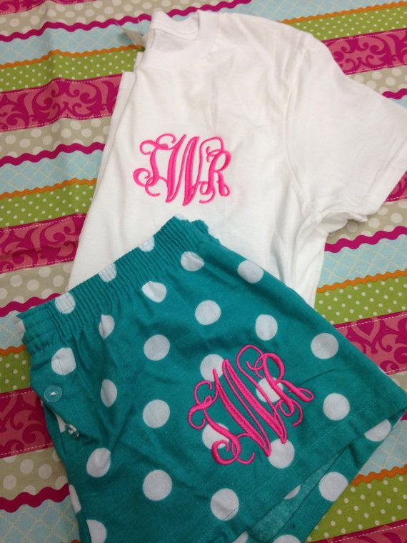Monogrammed pajama short, monogrammed sleep shorts, with matching top on Etsy, $26.00