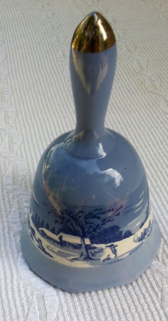Blue and White Porcelain Bell by faithbrady on Etsy, $12.00