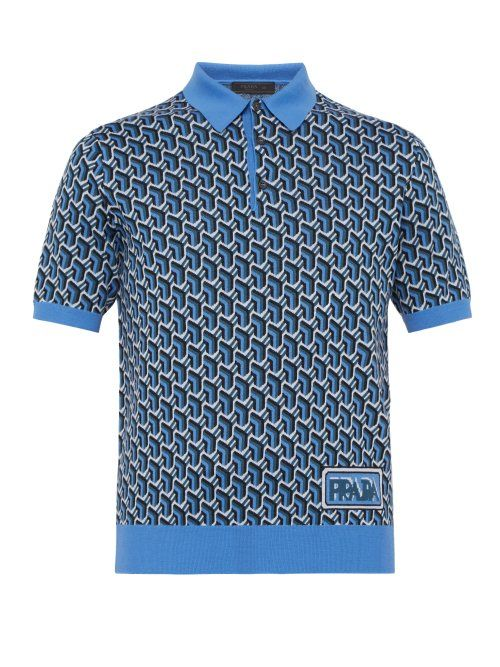 46179436 PRADA PRADA - GEOMETRIC WOOL JACQUARD POLO SHIRT - MENS - BLUE MULTI.  #prada #cloth