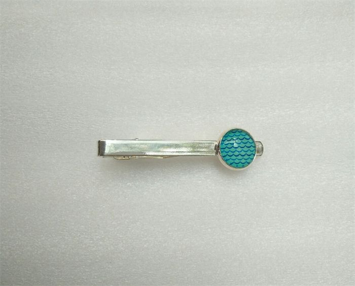 Silver Tie Clip with glass cabochon, blue waves design.