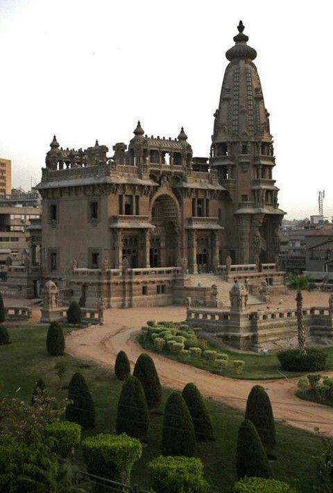 The abandoned Baron Empain Palace Heliopolis, Cairo, Egypt. Surprisingly, the gardens are maintained.