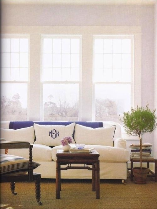 Mad For Monograms! White And Blue Living Room. Monogrammed Couch Cushion