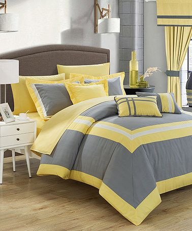 Another great find on #zulily! 20-Piece Gray & Yellow Comforter Set #zulilyfinds