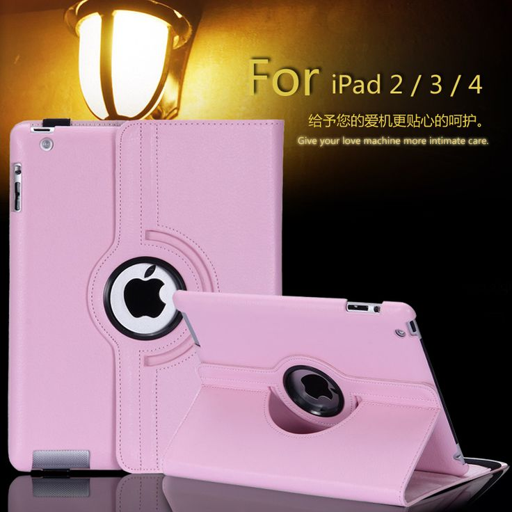 Free shipping Pu Leather 360 Rotating Case Smart Stand For New APPLE iPad 2 3 4 Tablet Case + pen + Film