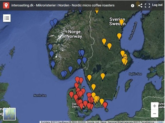 My map over the Nordic mikro coffee roasters. https://www.google.com/maps/d/viewer?mid=zXxkcjLnhMho.kVEQr3cg732M&msa=0&hl=da&ie=UTF8&t=h&ll=56.249454,11.57959&spn=2.930202,7.03125&z=7&source=embed