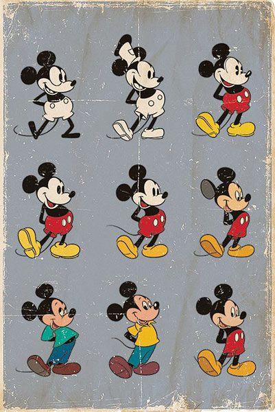 Póster Evolución Mickey Mouse. Disney Estupendo póster con la imagen de la evolución de Mickey Mouse.