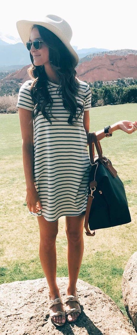 #spring #outfits White Striped Dress + Black Leather Tote Bag