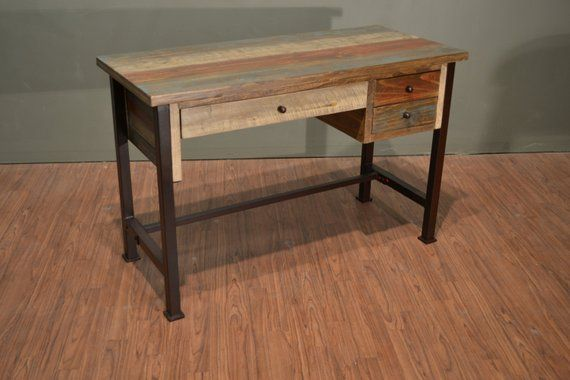Rustic Antique Style Desk Library Table With Multi Color Finish
