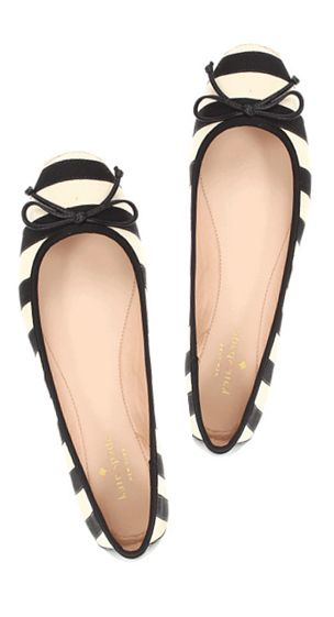 Kate Spade black and white stripe ballerina flats - perfection! Love ❤❤❤