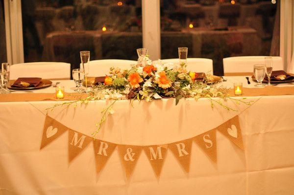 Rustic Head Table.... I love the banner! | Wedding ...
