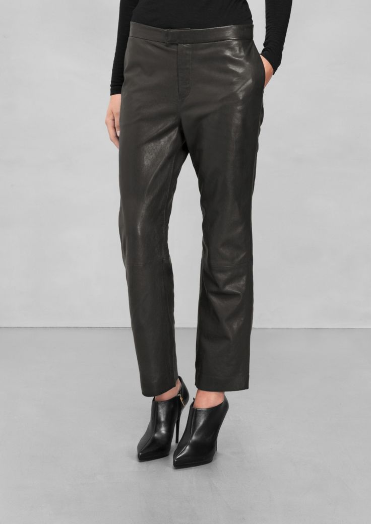 & Other Stories   Relaxed Leather Trousers