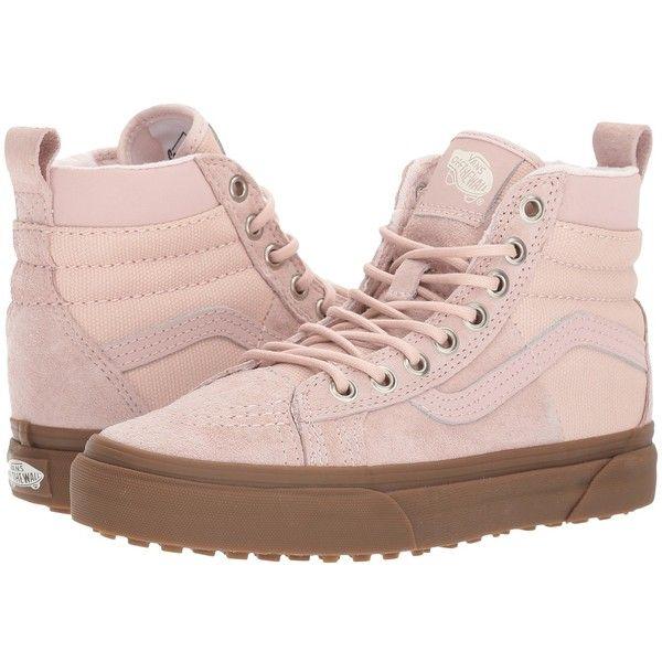 Vans SK8-Hi 46 MTE DX ((MTE) Sepia Rose/Gum) Skate Shoes ($95) ❤ liked on Polyvore featuring shoes, sneakers, hi top skate shoes, high top skate shoes, vans shoes, skate shoes high tops and suede high top sneakers