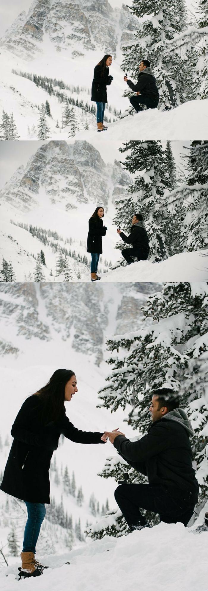 He flew her to the Rockies in a helicopter, and then he proposed in the middle of their photoshoot!