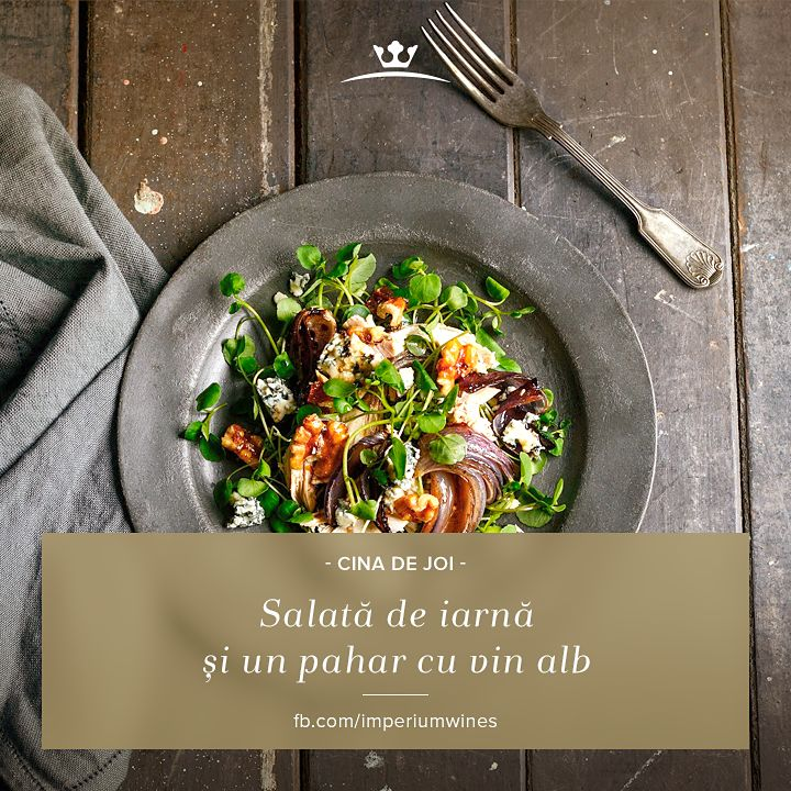 """Cum sună o salată de iarnă, """"asezonată"""" cu un pic de vin alb? Hrănitoare și tonică! Alege vinul de aici: http://lovewine.ro/vinuri/vinuri-romanesti/imperium-wines/imperium-wines.-mustoasa-1879.html"""