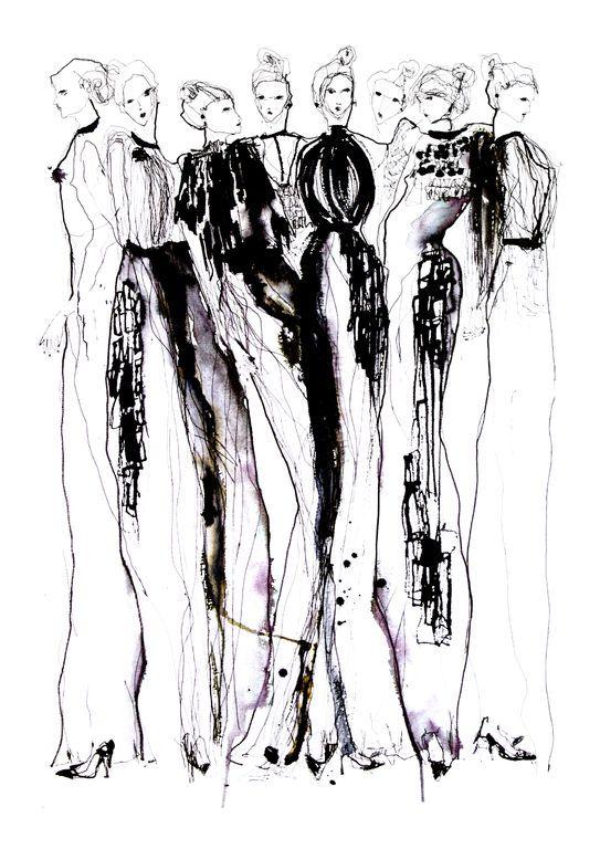 Fashion illustration - stylish monochromatic fashion sketch of Phoebe English dresses // Eleanor Shenton