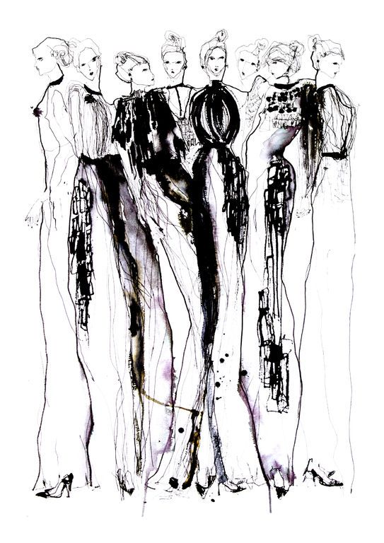 Fashion illustration - stylish monochromatic fashion sketch of Phoebe English dresses // Eleanor Shenton