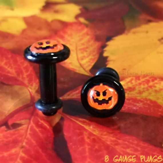 Orange & Black 8 Gauge Plugs Jack O Lantern by BeltaneMoon on Etsy