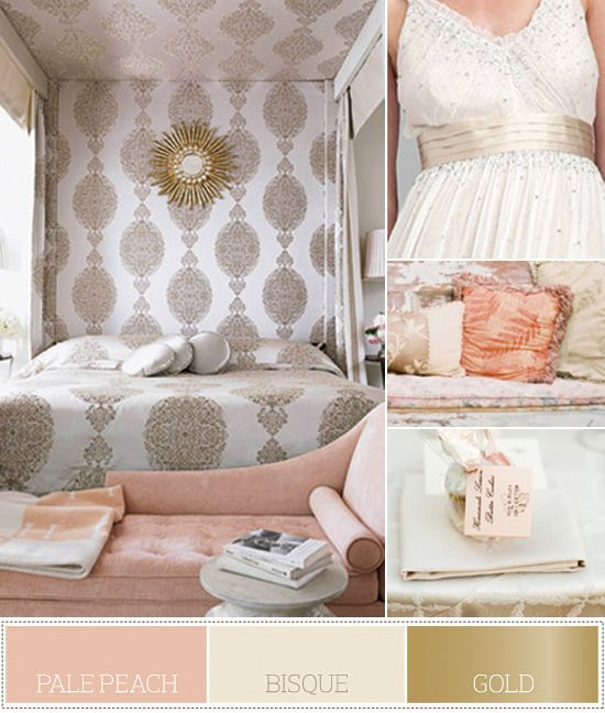 133 best color palettes images on pinterest color for Peach and gold bedroom