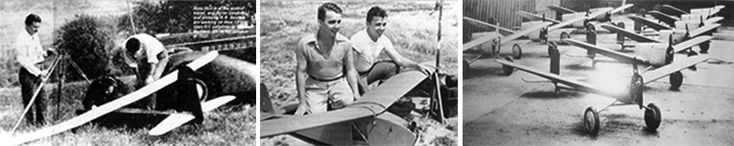Historical perspective: Radio-controlled model aircraft in the US (left and center) and German As-292 surveillance drones (right) from the 1930s