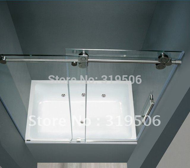 free shipping modern 304 stainless steel barn door hardware sliding glass shower door hardware - Bathtub Shower Doors