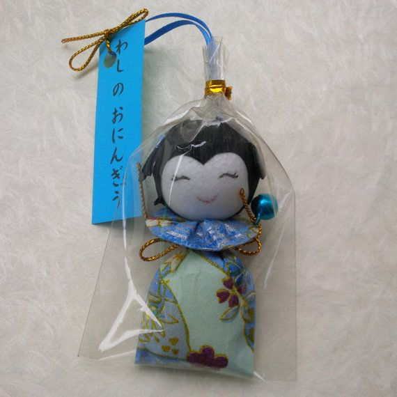 Handmade origami doll japanese washi paper blue  gift for by bila