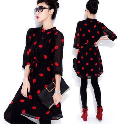 Cheap 2016 labios nuevo rojo Retro de impresión de la gasa delgada delgada Vestidos más el vestido ocasional vestido de la oficina Sexy Vestidos Sexy Summer, Compro Calidad Vestidos directamente de los surtidores de China:   [XLModel]-[Productos]-[8888]                                                                                 [XLModel]