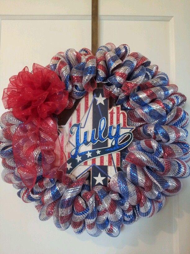 4th of July Deco Mesh Wreath. $44.00