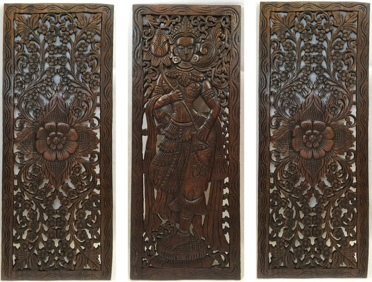 Multi Panels Oriental Home Decor Wood Carved Floral Wall