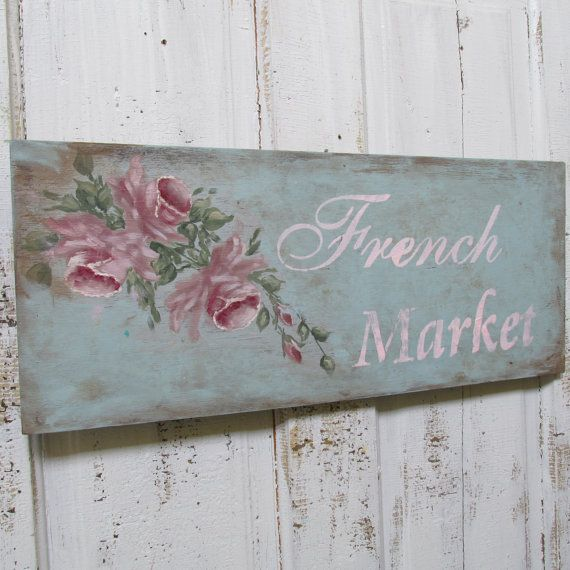 Cottage chic wood sign soft hand painted blue by AnitaSperoDesign, $85.00